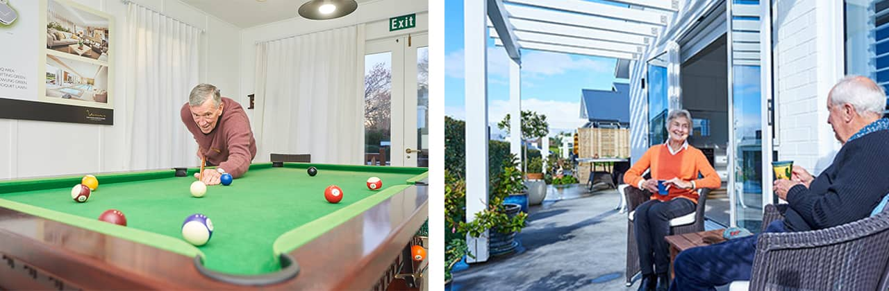 Residents and pool table