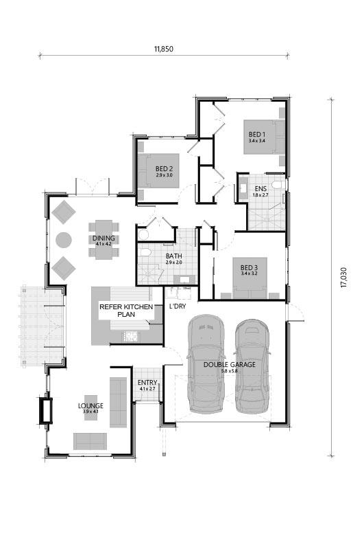 House plan of 3 bedroom villa at The Vines at Bethlehem
