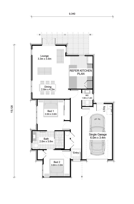 House plan of 2 bedroom duplex at The Vines at Bethlehem